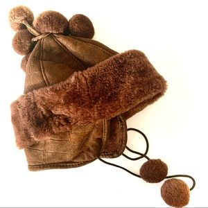 Real European Shearling suede Pom Pom Hat for kids